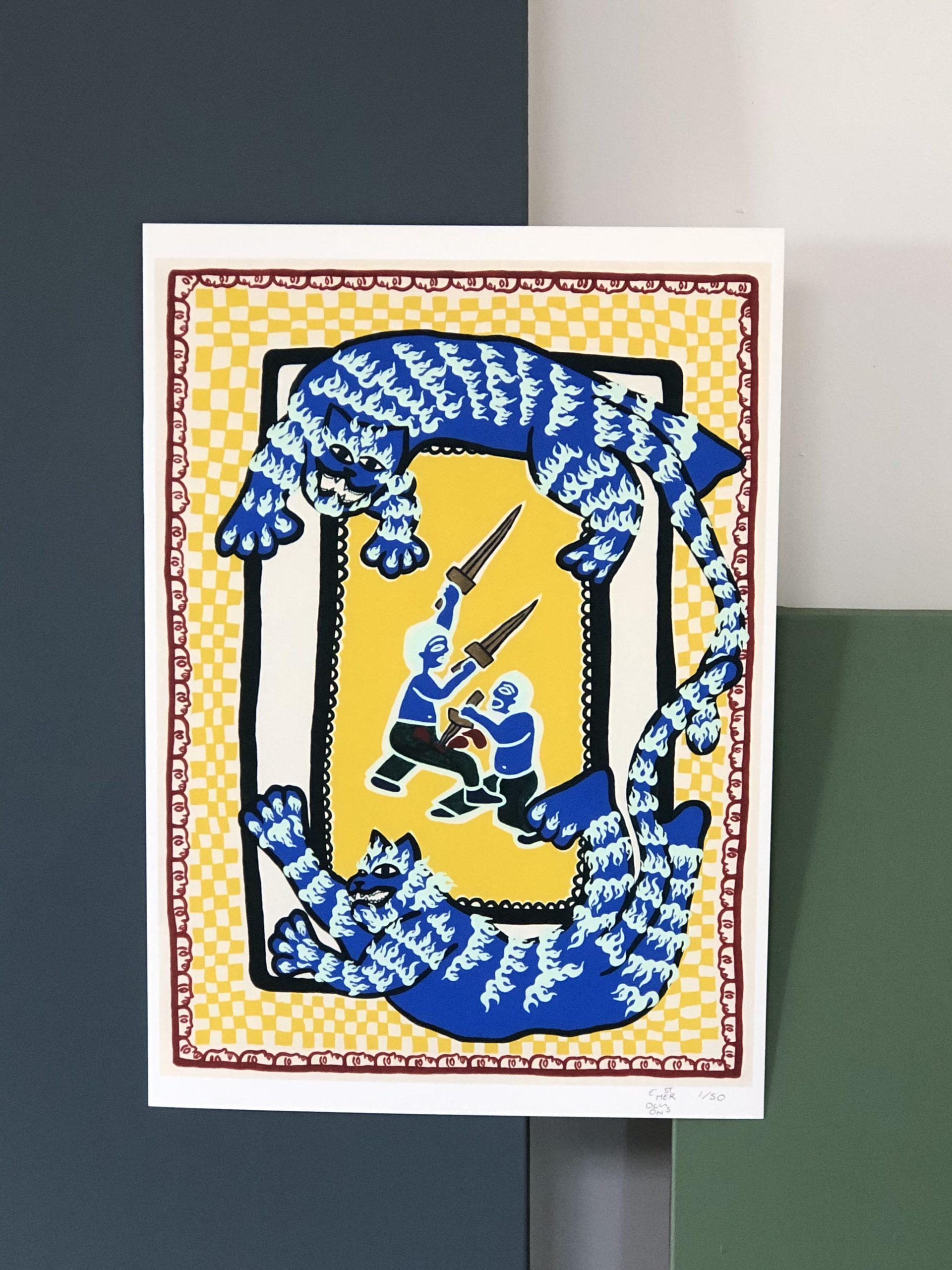 powerful tiger rug, fine art print
